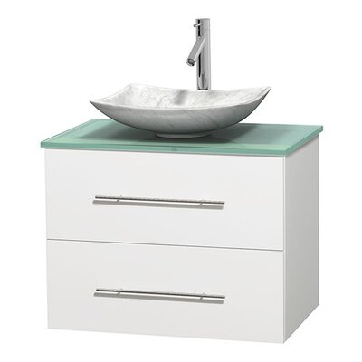 Centra 30 Single Bathroom Vanity Set Basin Finish: Arista White Carrera, Base Finish: Matte White