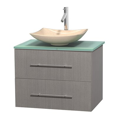 Centra 30 Single Bathroom Vanity Set Base Finish: Gray Oak, Basin Finish: Arista Ivory