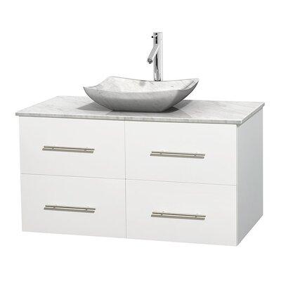 Centra 42 Single Bathroom Vanity Set Base Finish: Matte White, Basin Finish: White Carrera Marble, Top Finish: White Carrera