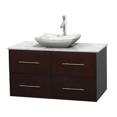 Centra 42 Single Bathroom Vanity Set Base Finish: Espresso, Top Finish: White Carrera, Basin Finish: White Carrera Marble