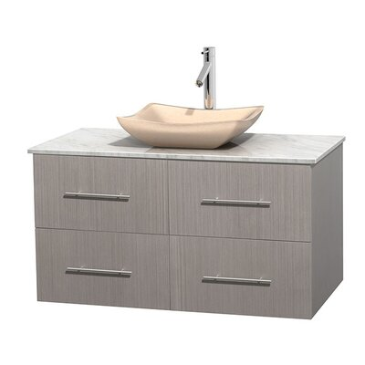 Centra 42 Single Bathroom Vanity Set Base Finish: Gray Oak, Top Finish: White Carrera, Basin Finish: Ivory Marble
