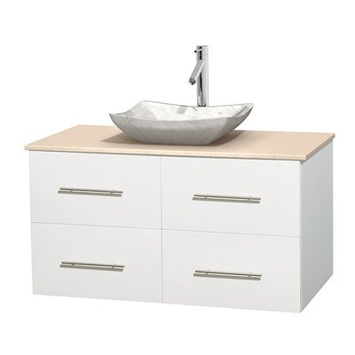 Centra 42 Single Bathroom Vanity Set Base Finish: Matte White, Top Finish: Ivory, Basin Finish: White Carrera Marble
