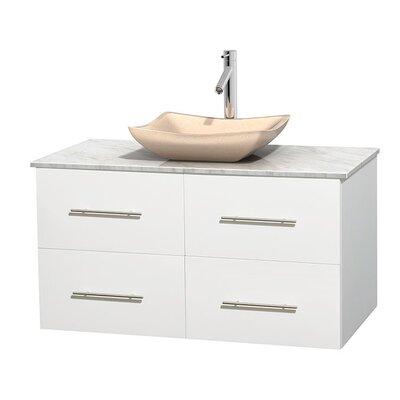 Centra 42 Single Bathroom Vanity Set Base Finish: Matte White, Top Finish: White Carrera, Basin Finish: Ivory Marble