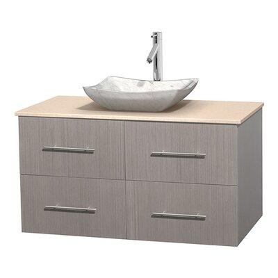 Centra 42 Single Bathroom Vanity Set Base Finish: Gray Oak, Top Finish: Ivory, Basin Finish: White Carrera Marble