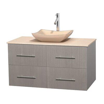 Centra 42 Single Bathroom Vanity Set Base Finish: Gray Oak, Top Finish: Ivory, Basin Finish: Ivory Marble