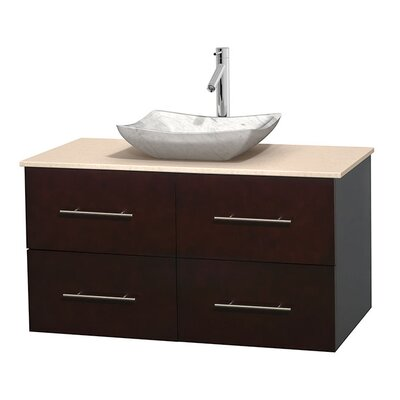 Centra 42 Single Bathroom Vanity Set Top Finish: Ivory, Basin Finish: White Carrera Marble, Base Finish: Espresso