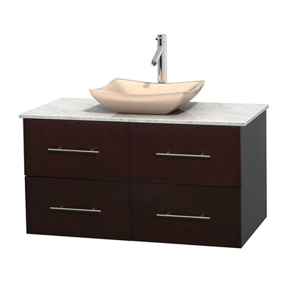 Centra 42 Single Bathroom Vanity Set Basin Finish: Ivory Marble, Base Finish: Espresso, Top Finish: White Carrera