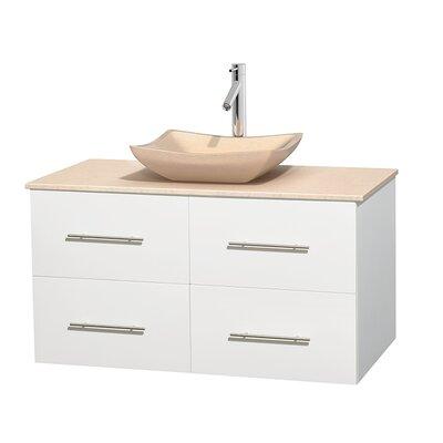 Centra 42 Single Bathroom Vanity Set Base Finish: Matte White, Top Finish: Ivory, Basin Finish: Ivory Marble