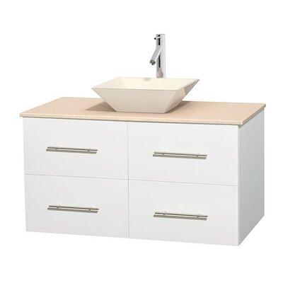 Centra 42 Single Bathroom Vanity Set Base Finish: Matte White, Top Finish: Ivory, Basin Finish: Bone Porcelain