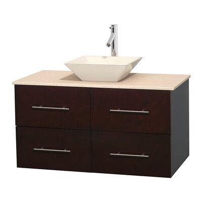 Centra 42 Single Bathroom Vanity Set Base Finish: Espresso, Top Finish: Ivory, Basin Finish: Bone Porcelain