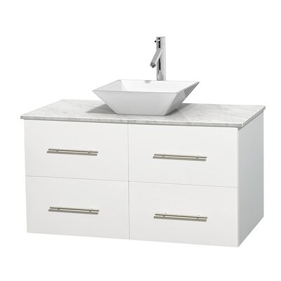 Centra 42 Single Bathroom Vanity Set Base Finish: Matte White, Top Finish: White Carrera, Basin Finish: White Porcelain