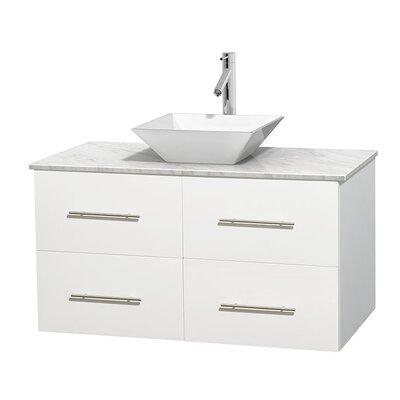 Centra 42 Single Bathroom Vanity Set Base Finish: Matte White, Basin Finish: White Porcelain, Top Finish: White Carrera