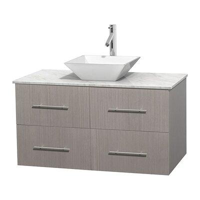 Centra 42 Single Bathroom Vanity Set Base Finish: Gray Oak, Top Finish: White Carrera, Basin Finish: White Porcelain