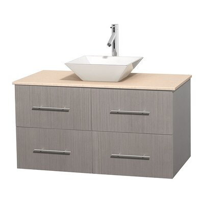Centra 42 Single Bathroom Vanity Set Base Finish: Gray Oak, Top Finish: Ivory, Basin Finish: White Porcelain