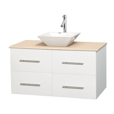 Centra 42 Single Bathroom Vanity Set Base Finish: Matte White, Top Finish: Ivory, Basin Finish: White Porcelain