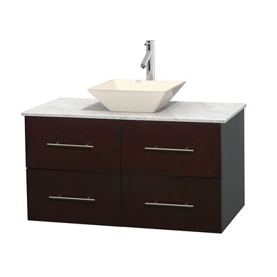 Centra 42 Single Bathroom Vanity Set Base Finish: Espresso, Top Finish: White Carrera, Basin Finish: Bone Porcelain