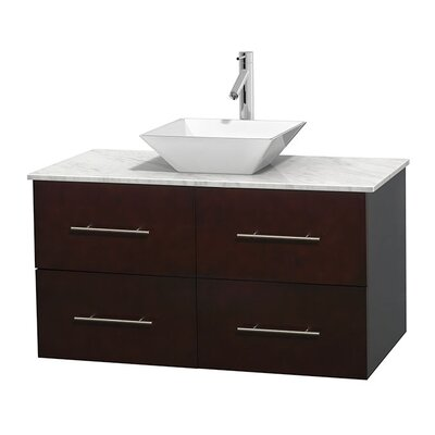 Centra 42 Single Bathroom Vanity Set Base Finish: Espresso, Top Finish: White Carrera, Basin Finish: White Porcelain