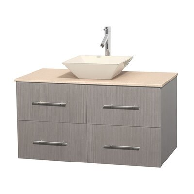 Centra 42 Single Bathroom Vanity Set Base Finish: Gray Oak, Top Finish: Ivory, Basin Finish: Bone Porcelain