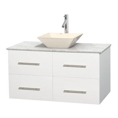 Centra 42 Single Bathroom Vanity Set Base Finish: Matte White, Basin Finish: Bone Porcelain, Top Finish: White Carrera