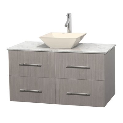 Centra 42 Single Bathroom Vanity Set Basin Finish: Bone Porcelain, Base Finish: Gray Oak, Top Finish: White Carrera