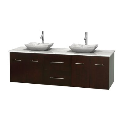 Centra 72 Double Bathroom Vanity Base Finish: Gray Oak, Top Finish: White Carrera, Basin Finish: Ivory Marble