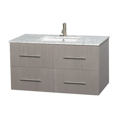 Centra 42 Single Bathroom Vanity Set Base Finish: Gray Oak, Top Finish: White Carrera