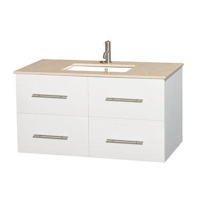 Centra 42 Single Bathroom Vanity Set Base Finish: Matte White, Top Finish: Ivory