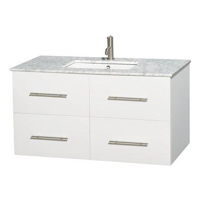 Centra 42 Single Bathroom Vanity Set Base Finish: Matte White, Top Finish: White Carrera
