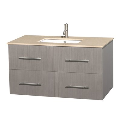 Centra 42 Single Bathroom Vanity Set Base Finish: Gray Oak, Top Finish: Ivory