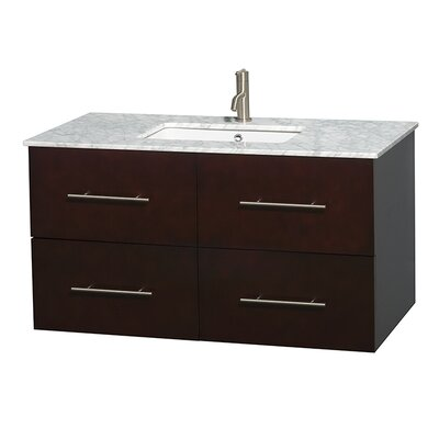 Centra 42 Single Bathroom Vanity Set Base Finish: Espresso, Top Finish: White Carrera