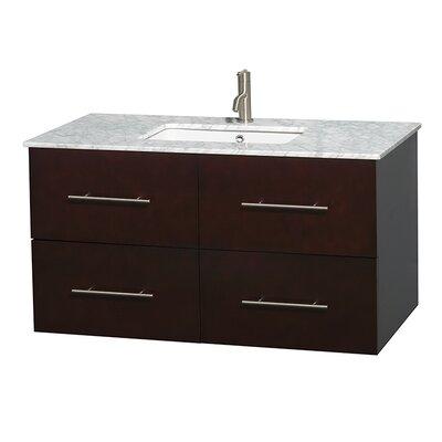 Centra 42 Single Bathroom Vanity Set Top Finish: White Carrera, Base Finish: Espresso