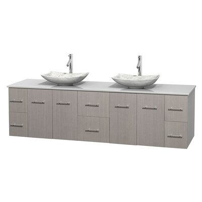 Centra 80 Double Bathroom Vanity Set Base Finish: Matte White, Basin Finish: Arista White Carrera
