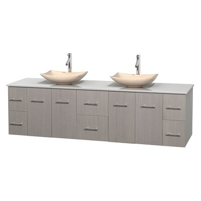 Centra 80 Double Bathroom Vanity Set Base Finish: Gray Oak, Basin Finish: Arista Ivory