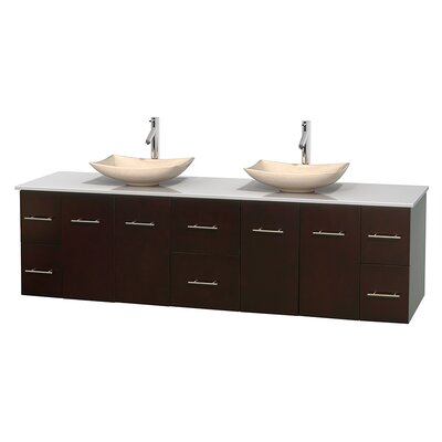 Centra 80 Double Bathroom Vanity Set Basin Finish: Arista Ivory, Base Finish: Matte White