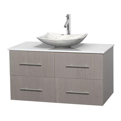 Centra 42 Single Bathroom Vanity Set Base Finish: Gray Oak, Basin Finish: Arista White Carrera