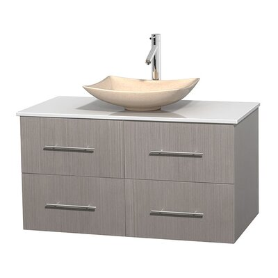 Centra 42 Single Bathroom Vanity Set Base Finish: Gray Oak, Basin Finish: Arista Ivory