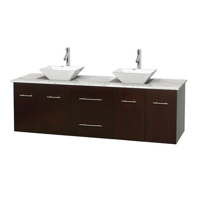 Centra 72 Double Bathroom Vanity Base Finish: Matte White, Top Finish: White Carrera, Basin Finish: White Porcelain