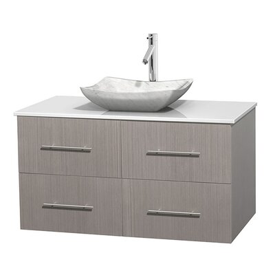 Centra 42 Single Bathroom Vanity Set Base Finish: Gray Oak, Basin Finish: Avalon White Carrera