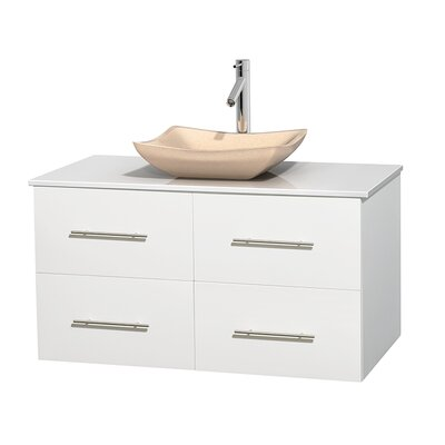 Centra 42 Single Bathroom Vanity Set Base Finish: Matte White, Basin Finish: Avalon Ivory