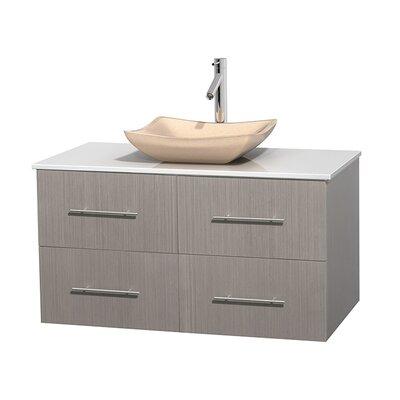 Centra 42 Single Bathroom Vanity Set Base Finish: Gray Oak, Basin Finish: Avalon Ivory