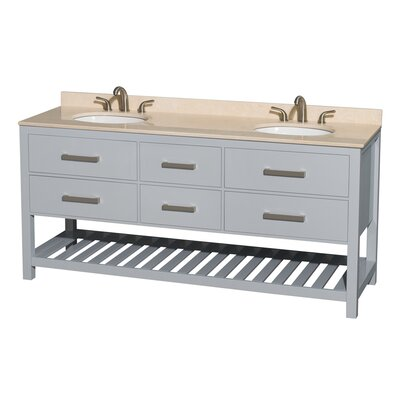 Natalie 72 Double Bathroom Vanity Top Finish: Ivory, Base Finish: Gray