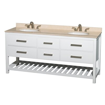 Natalie 72 Double Bathroom Vanity Base Finish: White, Top Finish: Ivory