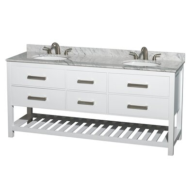 Natalie 72 Double Bathroom Vanity Base Finish: White, Top Finish: White Carrera