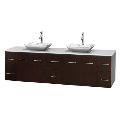 Centra 80 Double Bathroom Vanity Set Base Finish: Espresso, Basin Finish: Avalon White Carrera