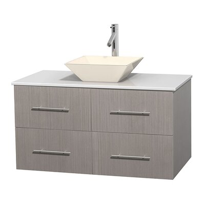 Centra 42 Single Bathroom Vanity Set Base Finish: Gray Oak, Sink Finish: Pyra Bone