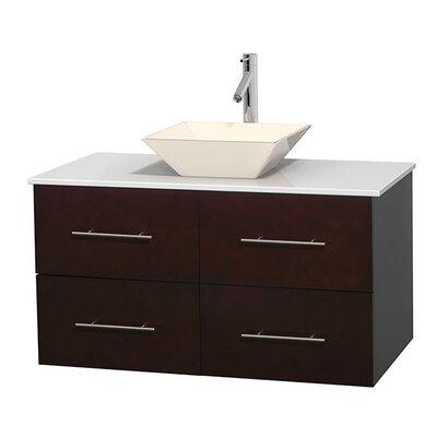 Centra 42 Single Bathroom Vanity Set Sink Finish: Pyra Bone, Base Finish: Espresso
