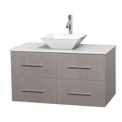 Centra 42 Single Bathroom Vanity Set Base Finish: Gray Oak, Sink Finish: White Porcelain