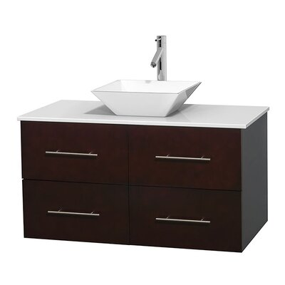 Centra 42 Single Bathroom Vanity Set Sink Finish: White Porcelain, Base Finish: Espresso