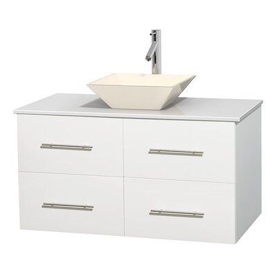 Centra 42 Single Bathroom Vanity Set Base Finish: Matte White, Sink Finish: Pyra Bone