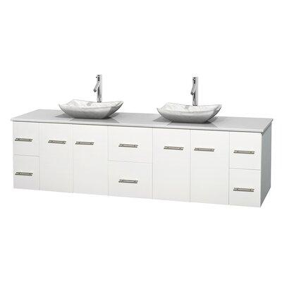Centra 80 Double Bathroom Vanity Set Base Finish: Matte White, Basin Finish: Avalon White Carrera